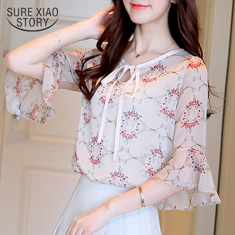 2018 fashion sweet bow summer women tops print chiffon women   blouse     shirt   flare sleeve plus size women's clothing 0050 30