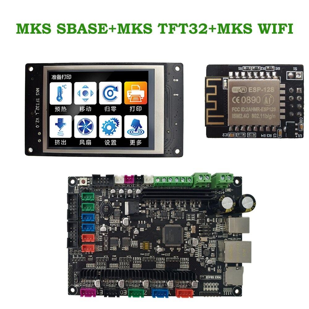 MKS SBASE + MKS TFT32 V4.0 affichage + MKS WIFI 3D contrôleur d'imprimante kits intégré Microcontrôleur smoothieboard Smoothieware