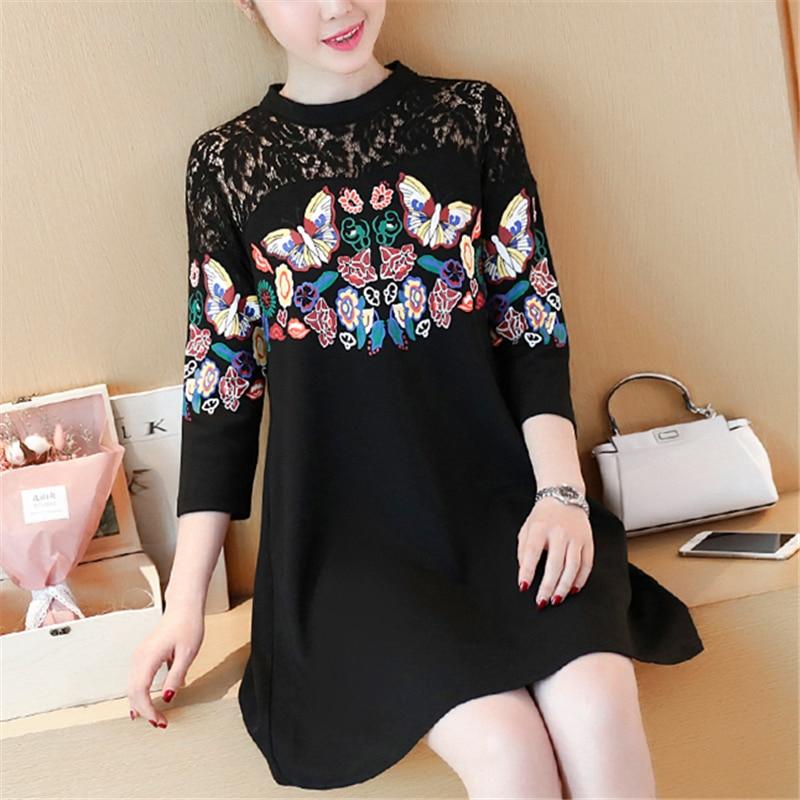 XXXXLPlus Size Summer Women Lace Dress Black Butterfly Print Sexy Vintage Party Beach Maxi Dresses 3/4 Sleeve O-neck Vestido 1