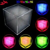 2016 Newest 3D16 Mini Light Cubeeds LED DIY KIT 3D 16 16x16x16 Electronic Diy Kit LED