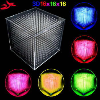 zirrfa mini Light cubeeds LED Music Spectrum,3D 16 16x16x16 electronic diy kit, LED Display parts,Christmas Gift,for TF card - DISCOUNT ITEM  0% OFF All Category