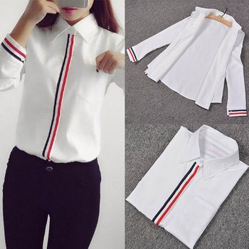 Hot Sale 2019 Spring Summer Women Office Lady Formal Button Down Long Sleeve School Blouse Cotton Soft Casual White Shirt Tops 4