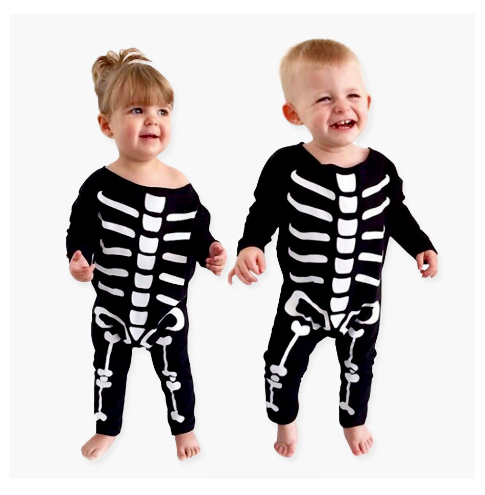 Touchcare Newborn Baby Boy Girl Rompers Skeleton Print Black Color Baby Clothes Long Sleeve Infant Jumpsuit Baby Sliders Romper 15