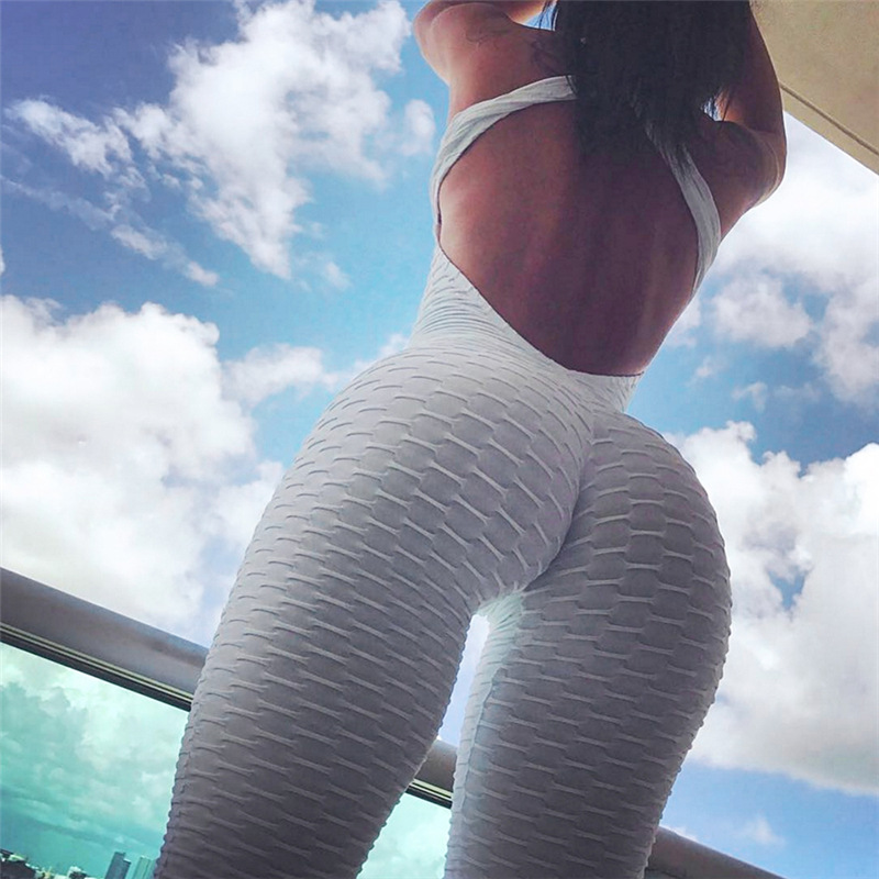 SVOKOR Solid Color Casual Women's Leggings Sexy Cross Open Back Jumpsuit  High Waist Pants Stretch Exercise JumpsuiT