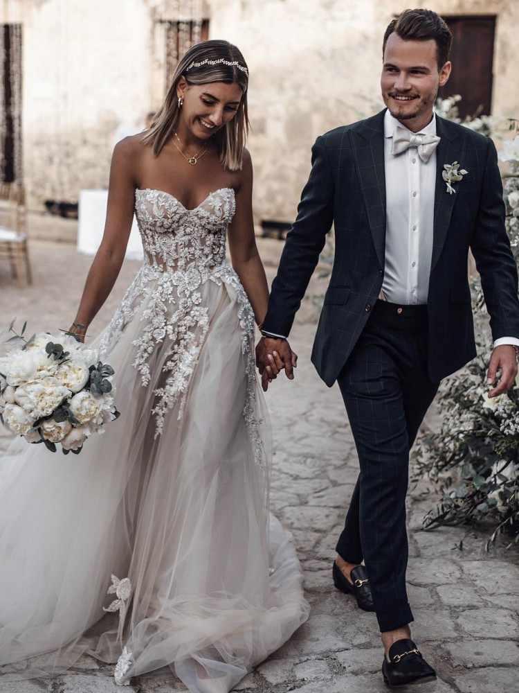 Пляж бохо свадебные платья 2019 бисером Кристалл кружева Vestido de Novia Longo gelinlik vestido casamento robe de mariee