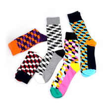 Personality European Version Men Women Couples socks Wholesale Funny Happy Socks Cotton Plaid Geometric Lattice Striped