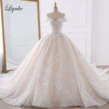 豪華な刺繍の恋人の夜会服のウェディングドレスアップリケビーズ真珠オフショルダーヴィンテージブライダルドレス