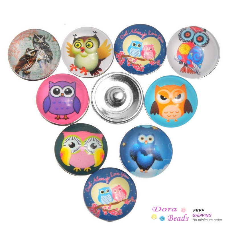 Glass Nice Snap Buttons Fit Nice Bracelets Round Mixed Halloween Owl Pattern 18mm,12PCs (K80006) image