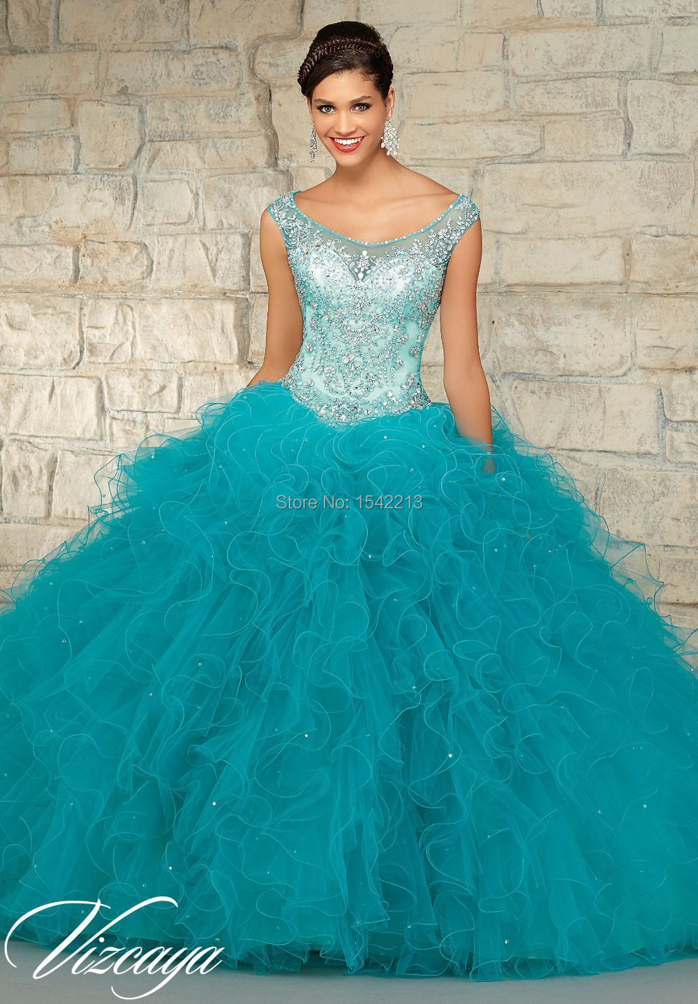 Boutique Chic Beaded Hot Pink Turquoise Blue Quinceanera Dresses ...