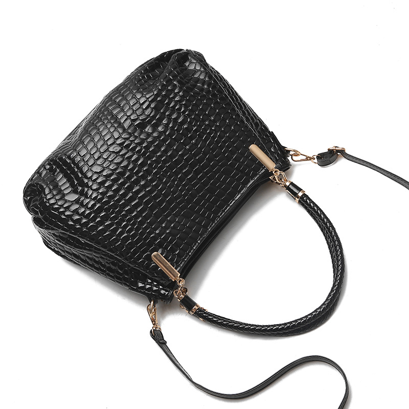 Alligator Women\'S Patent Leather Handbags With Wallet Big Size Shoulder Crossbody Bags Women Bucket Bags