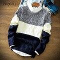 Moda Pullover Hombres Suéter Slim Fit Patchwork O-cuello Del Mens Suéteres Casuales de Manga Larga Marca Abrigo Masculino Suéter de la Navidad