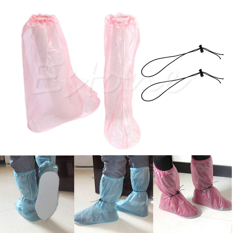 где купить THINKTHENDO1Pair PVC Waterproof Shoe Covers Reusable Anti-slip Rain Boot Bike Overshoe New по лучшей цене
