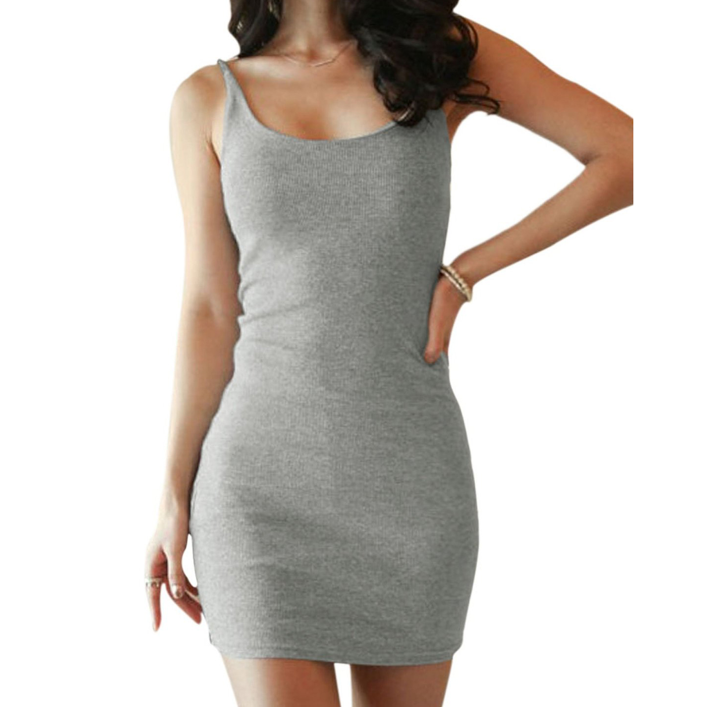 c55fe5840f1a 2017 KSFS Women Scoop Neck Sleeveless Pullover Casual Tank Dresses Black White  Blue Gray-in Dresses from Women s Clothing   Accessories on Aliexpress.com  ...