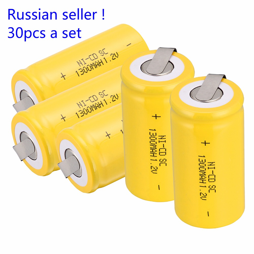 Russische verkäufer! 30 STÜCKE Unter C SC 1,2 V 1300 mAh Ni Cd Nicd akku 4,25*2,2 CM-in Ersatzbatterien aus Verbraucherelektronik bei AliExpress - 11.11_Doppel-11Tag der Singles 1