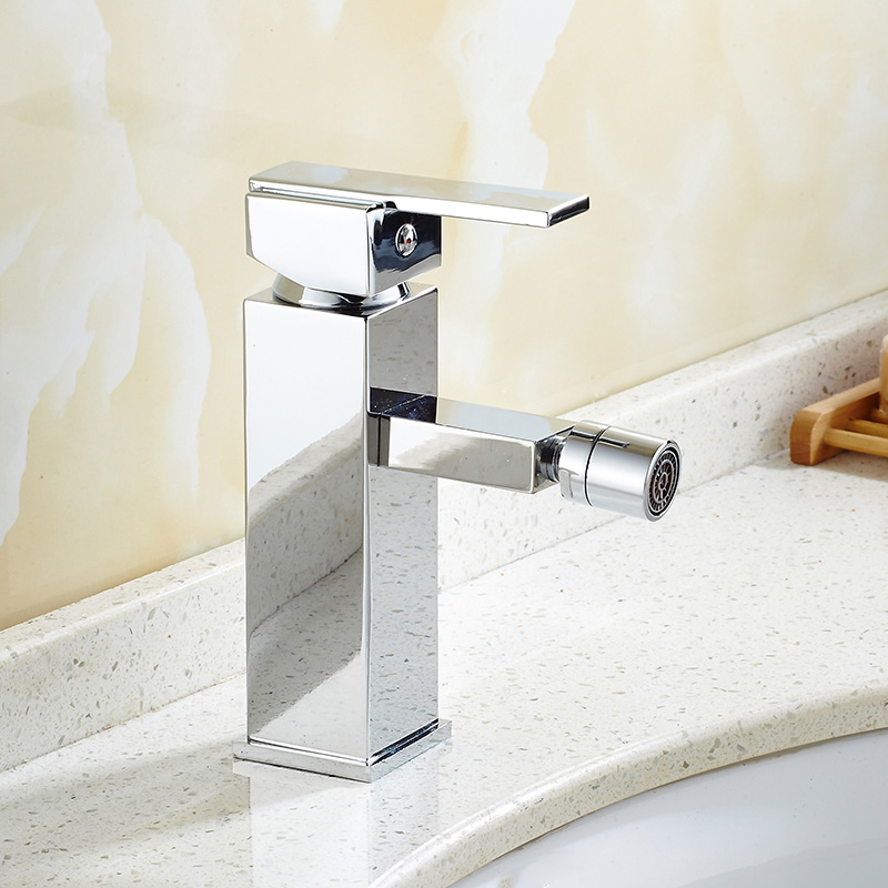 New arrivals brass material square bidet faucet chrome finished single hot and cold bathroom bidet faucet forerunner 620 hrm