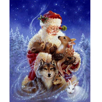 Diamond Embroidery 5D Diy Diamond Painting Santa Claus And Animals Diamond Painting Cross Stitch Rhinestone Mosaic