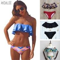 NIDALEE Sexy Ruffle Swimsuit Women Off Shoulder Bandeau Bikini Set Swimwear Women Swimming Suit For Women