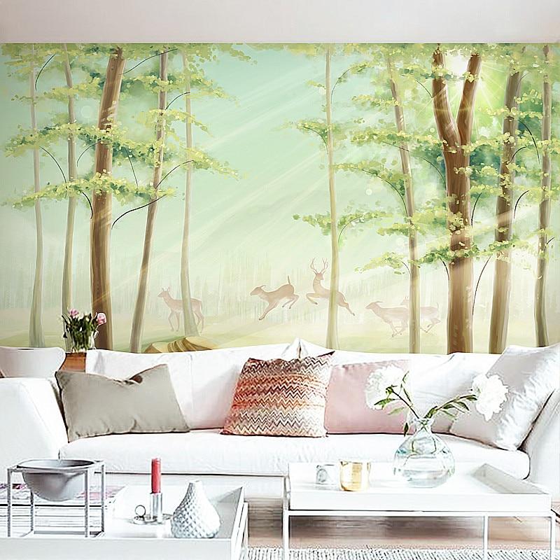 Beibehang Custom Wallpaper Living Room TV Backdrop Bedroom Wall Mural  Wallpaper Minimalist Modern Morning Mist Deer Movies In Wallpapers From  Home ...