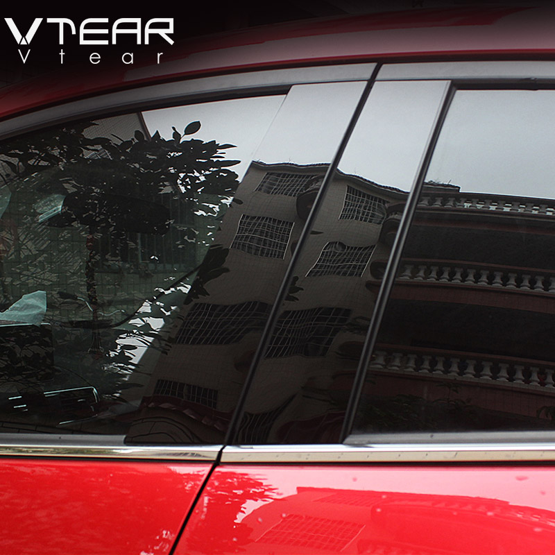 Vtear For Mazda 3 Axela 2014 2019 car window BC column sticker trim mirror reflection panel Exterior accessories hatchback sedan-in Car Stickers from Automobiles & Motorcycles