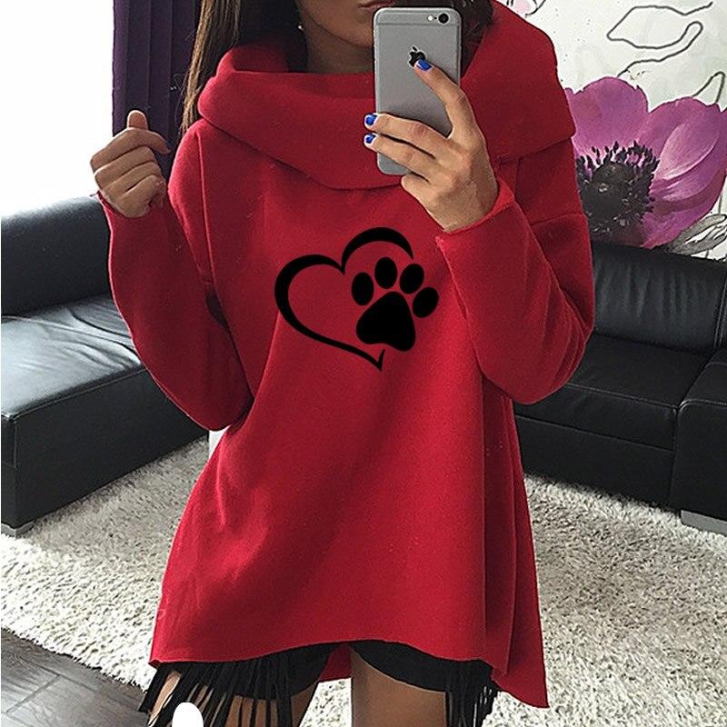 2018 New Fashion Cuore Gatto o Cane Pat Modello di Stampa Vestiti Delle Donne Con Cappuccio Sciarpa Collare Casual Felpe Pullover per la Femmina