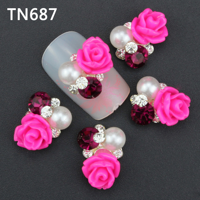 10Pcs New 2015 Gliter Rose with Rhinestones,3D Metal Alloy Nail Art Decoration/Charms/Studs,Nails 3d Jewelry TN687 10pcs strass unha rhinestones alloy nail decoration 2017 new style jewelry nails 3d nail art 5 colors supplies y1000