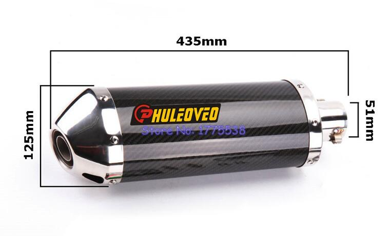 PHULEOVEO Length 435mm Inlet 51mm Carbon Fiber Motorcycle Exhaust Muffler Pipe with DB Killer Motorbike Mufflers Escape
