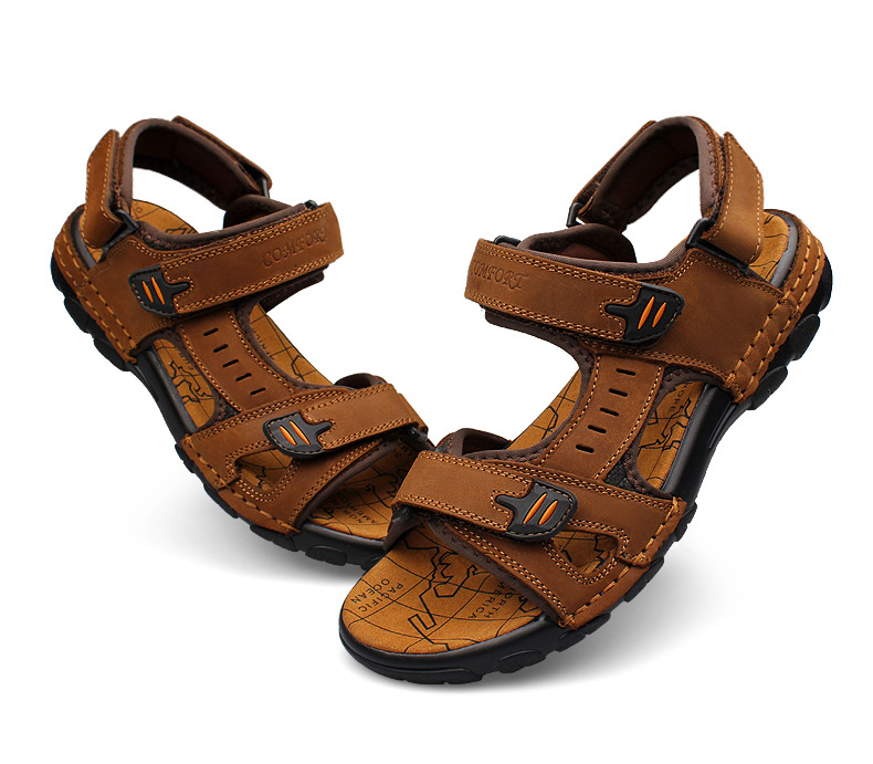 1d9f53446cb Size 38~46 Men Ankle Strap Leather Sandals Crash World Map Printing Flat  Sandals Wedge Shoes Flat Summer Men Sandals For Men-in Women s Sandals from  Shoes ...