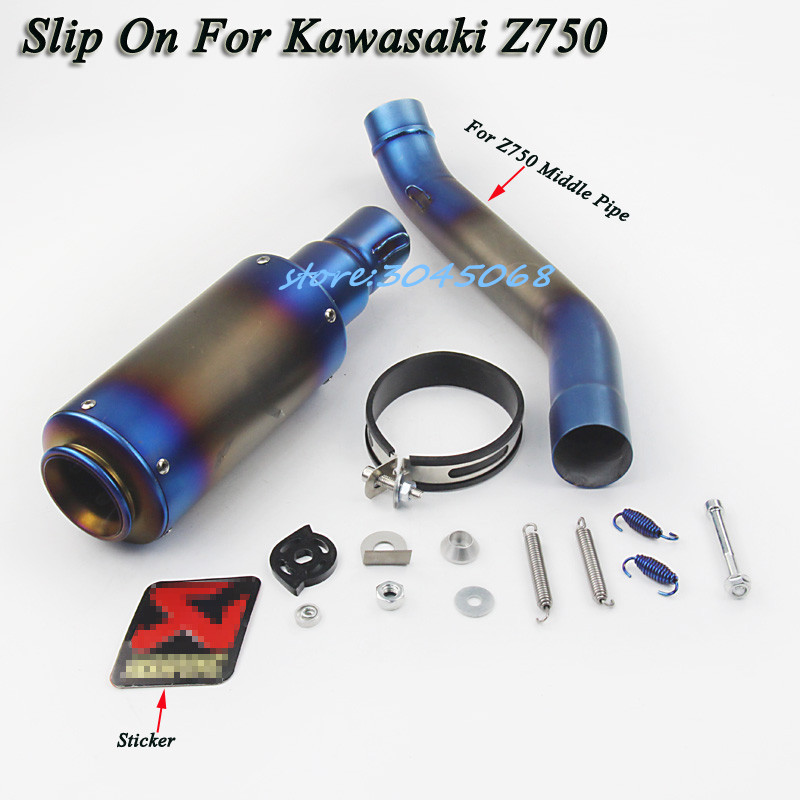 Slip On For z750 Motorcycle Full System Exhaust Modified Middle Link Pipe Tube Motorbike Muffler With Sticker For Kawasaki Z750
