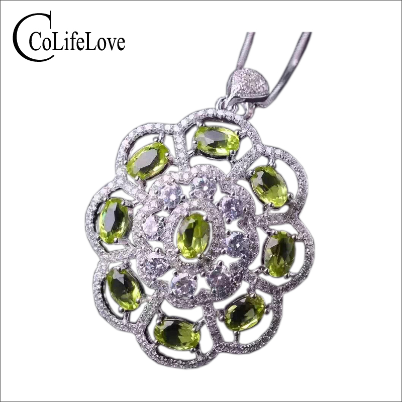 Luxurious round flower pendant with 9 pcs natural olivine solid 925 sterling silver necklace pendant girl green olvince pendant alloy rose flower pendant necklace