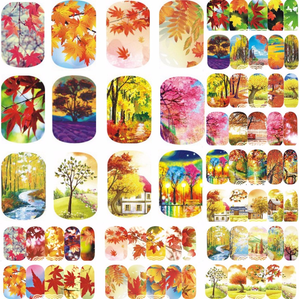 12 sheets WATER DECAL NAIL ART NAIL STICKER SLIDER TATTOO FULL COVER AUTUMN LEAF MAPLE A1201-1212 4 packs lot full cover white french smile lace tattoos sticker water decal nail art d363 366w
