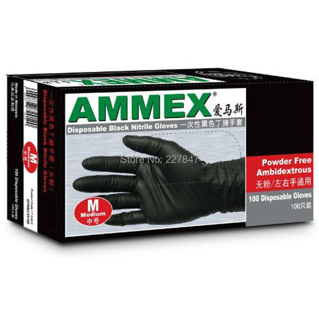New Design 50 Pairs Medium Size Black Nitrile Gloves Disposable Nitrile Oil and Acid Latex Gloves Supper Durable
