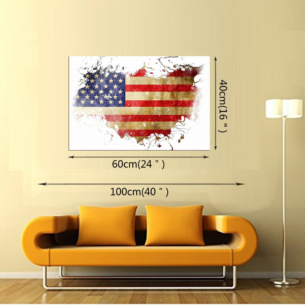 1 panel Free Shipping American Flag Modern Home Wall Decor Canvas ...
