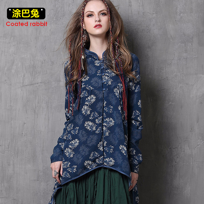 CR Long Cheongsam Blouse Women 2018 Spring Vintage Floral Print Long Sleeve Tassel Shirt Tops Womens Clothes