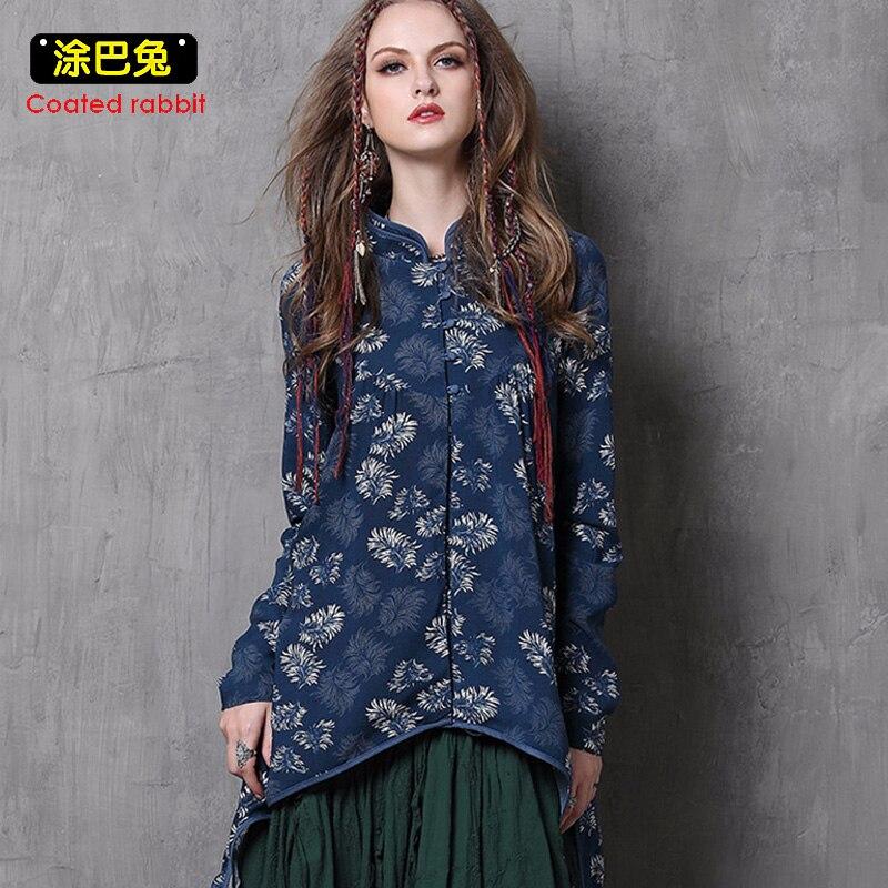 CR Long Cheongsam Blouse femmes 2018 printemps Vintage imprimé Floral à manches longues gland chemise hauts vêtements pour femmes