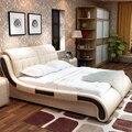 (1 dormitorios + 2 mesa de noche + 1 matrress/1 lote) de 1.5 o 1.8 metros de cuero moderno cama # CE-018