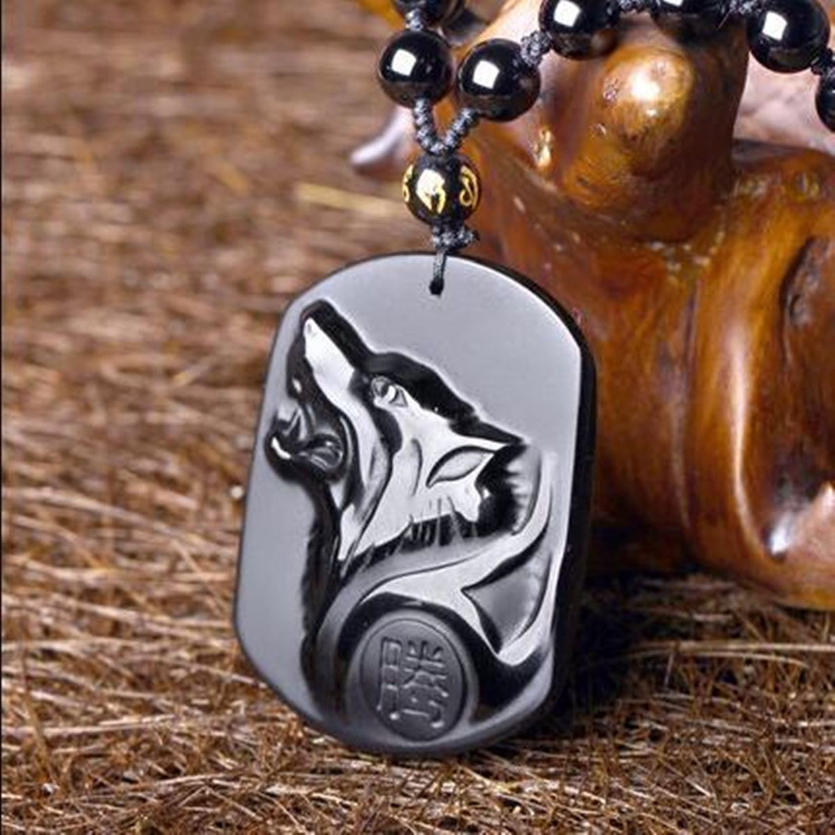Drop Shipping Black Obsidian Wolf Necklace Carving Wolf Heads