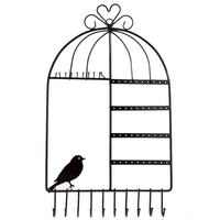 FUNIQUE Wall Hanging Pink Promotional Bird Cage Frame Earring Jewelry Display Rack Stand Holder Jewelry Metal