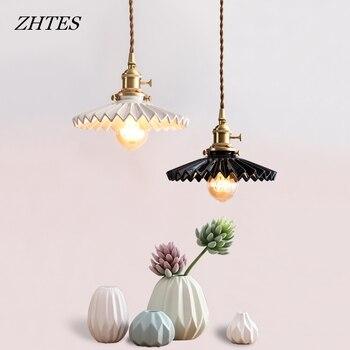 Japan style retro minimalist hang lamp dining room bedroom bedside bar hotel apartment brass ceramic pendant light