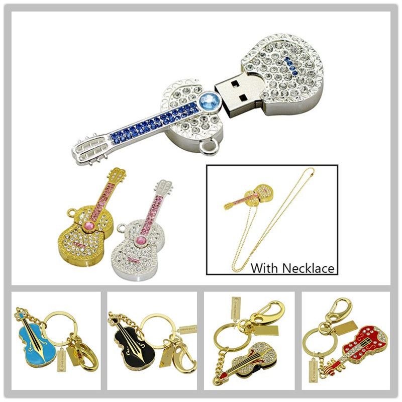 Instrument de musique diamant guitare collier Usb clé Usb métal violon porte-clés Usb clé mémoire 128GB mémoire stockage stylo lecteur
