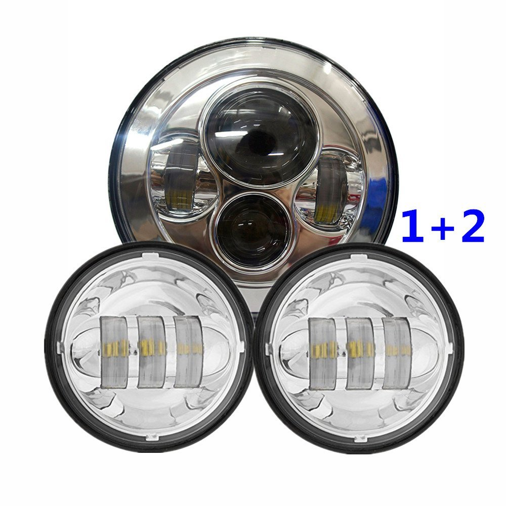 7 Chrome LED Projector Daymaker Headlight 2x 4 1 2 Chrome LED Auxiliary Spot Fog Passing