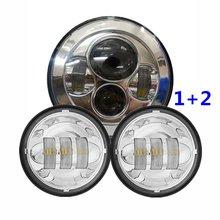 "7 ""Chrome LED Proyector Daymaker Faro + 2x 4-1/2"" Chrome LED Spot Niebla Auxiliar Al Pasar La Luz Lámpara De La Motocicleta Harley"