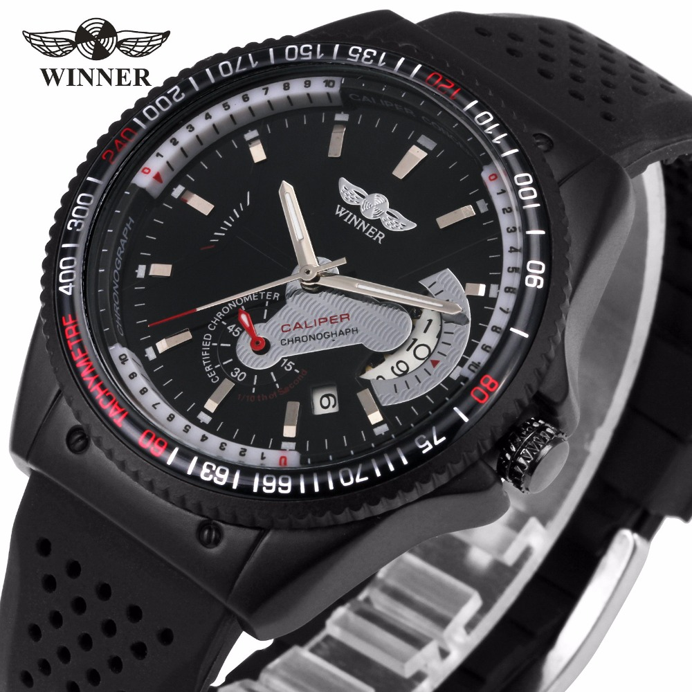 WINNER Men Casual Sport Mechanical Watch Rubber Strap Sub Dial Date Display Multifunction Unique Design Wristwatch + GIFT BOX the lewis man