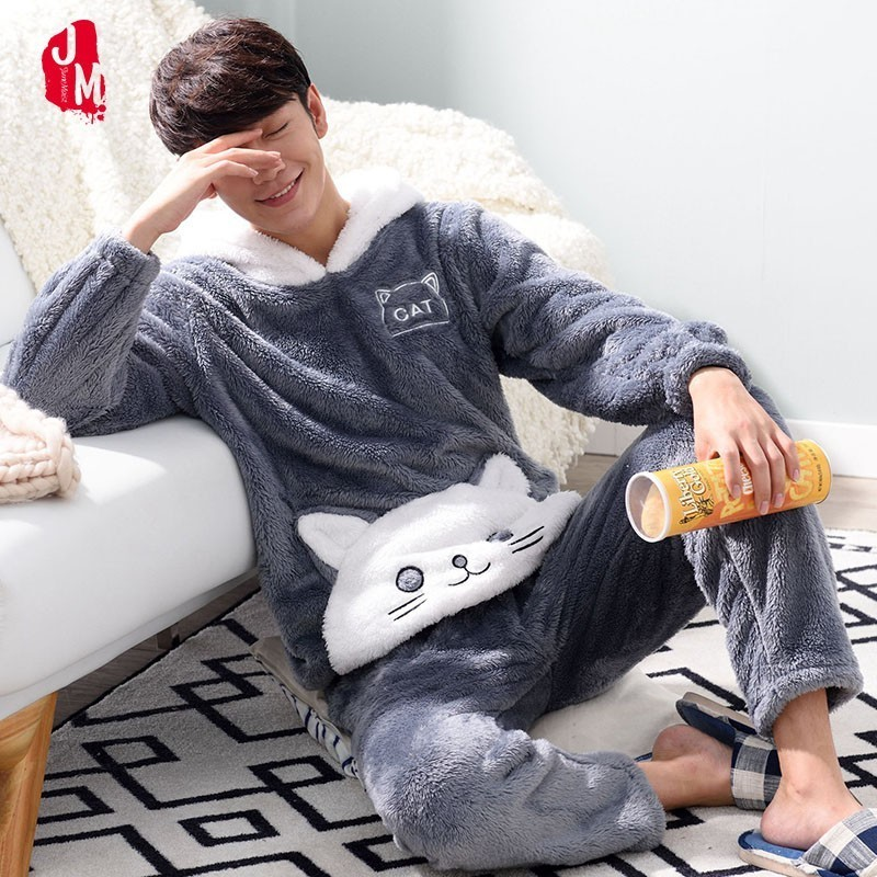 Winter Men Pajamas Thick Warm Coral Fleece Men Pajama Sets Long Sleeve Cartoon Panda Animal Hood Pyjamas Suits L-XXXL Sleepwear