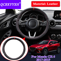 QCBXYYXH Car Styling Steering Wheels Cover For Mazda CX 3 2017 2019 Leather Internal Accessories Steering Wheel Cover