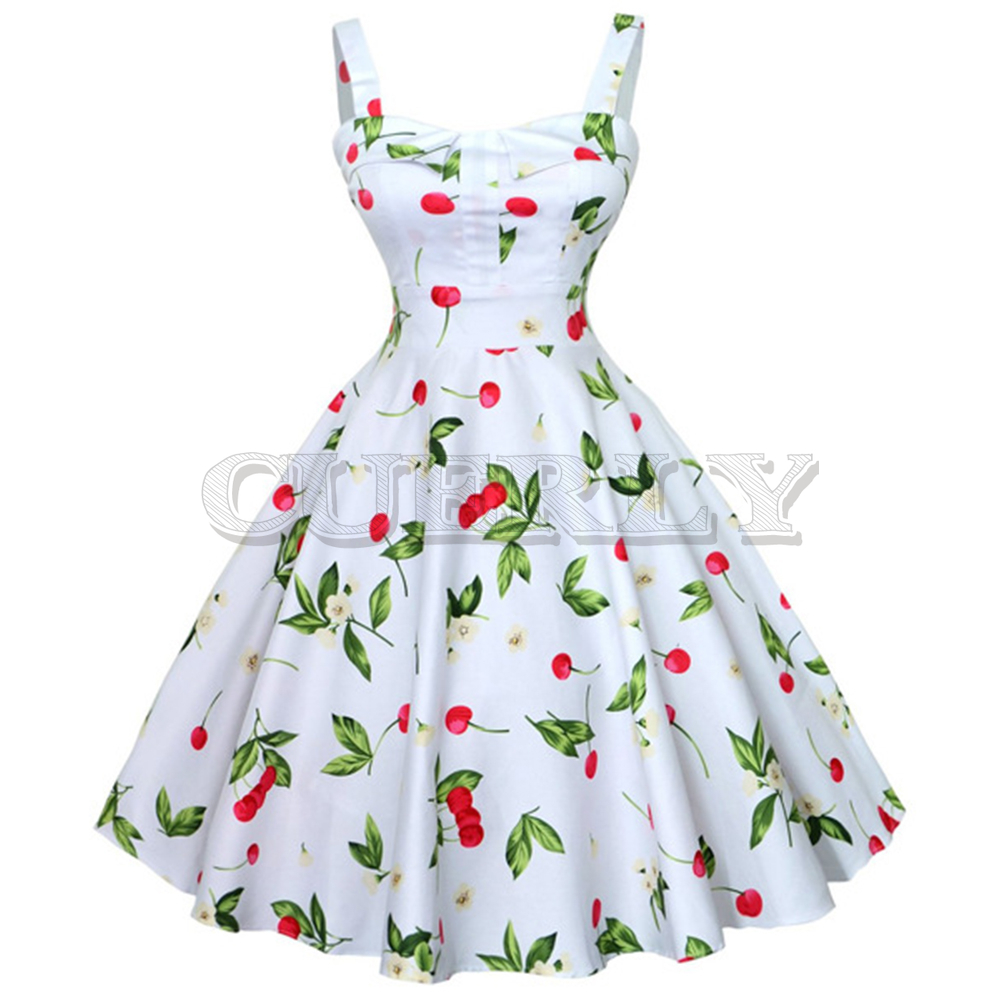 CUERLY Audrey Hepburn Summer Women Vintage Dress White Cherry Print High Waist Retro Cotton Party 2019 Feminino