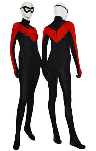 Nightwing Red and Black Spandex Cosplay Halloween զգեստները - Կարնավալային հագուստները - Լուսանկար 1