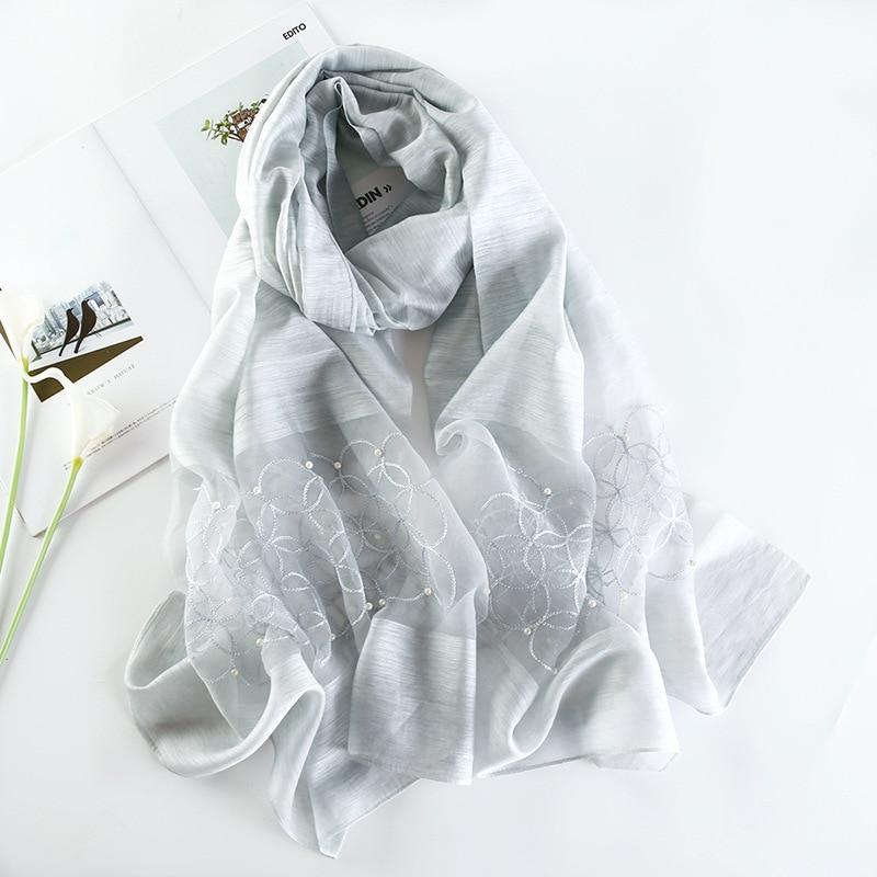 Acheter 2019 De Luxe En Soie Écharpe Femmes Hiver Haute Qualité ... 748589a8071