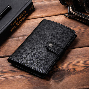 Image 5 - CONTACTS Genuine Leather men passport wallet with metal hasp zipper big Coin pocket Business male trifold purse card holder