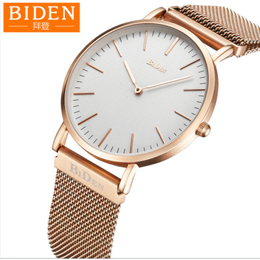 BIDEN Top Brand Watch Men Ultra-thin Dial Wristwatch Mens Watches Quartz Stainless Steel Minimalist Watches Men's Watch Golden цена и фото