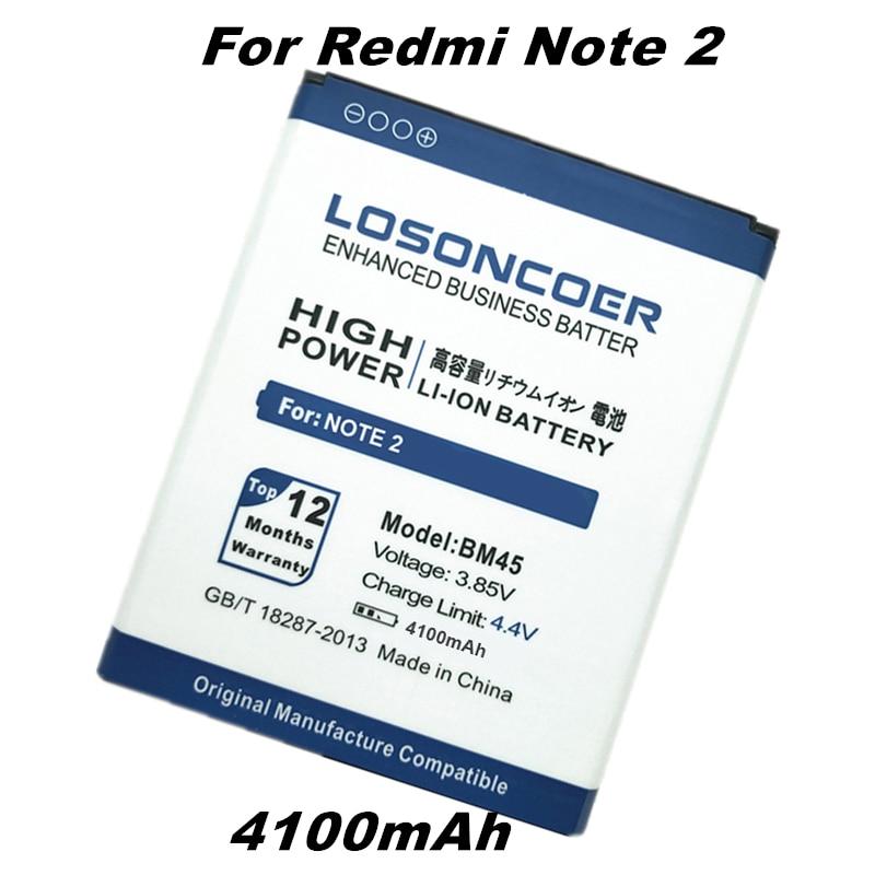 imágenes para BM45 LOSONCOER 4100 mAh Batería Uso para Xiaomi Hongmi Nota 2 batería Arroz Rojo nota RedMi Nota 2 Batería con el seguimiento número